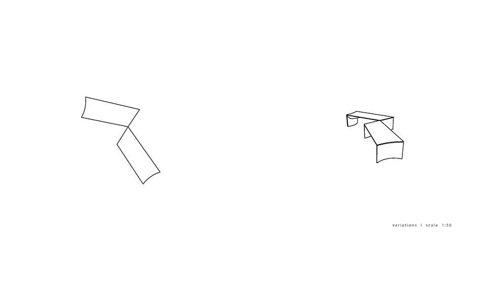 Bent Table ; Infinite Possibility of Assemblies. July. 2015